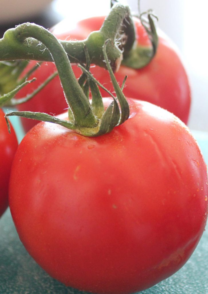 I love it when tomatoes actually look like tomatoes and even crazier when they taste like them too! Why is produce so blah these days. Pick happy tomatoes to slice up.