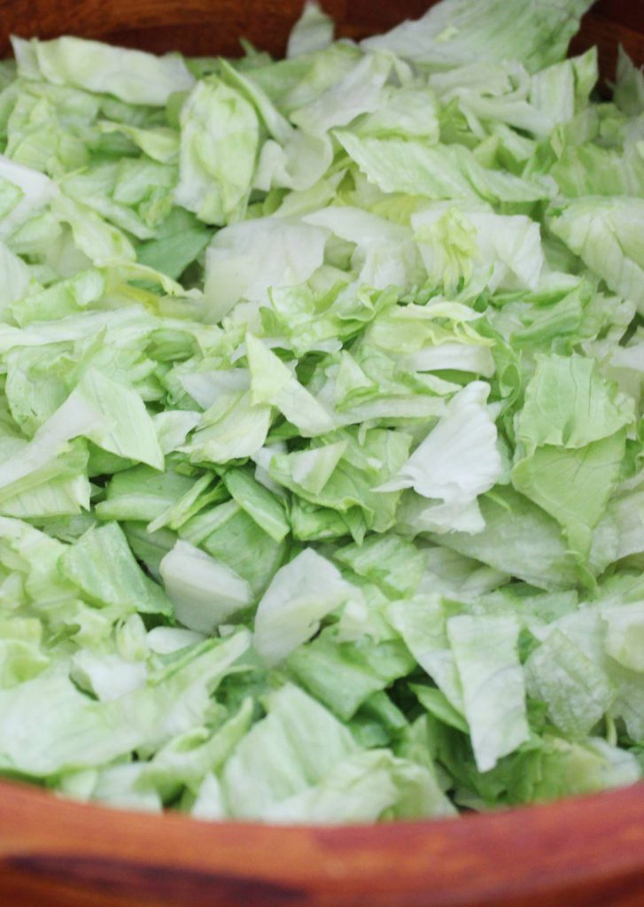 See how the lettuce is chopped pretty small? It helps to have it smaller because I think it retains more of the dressing and blends better with the other ingredients.