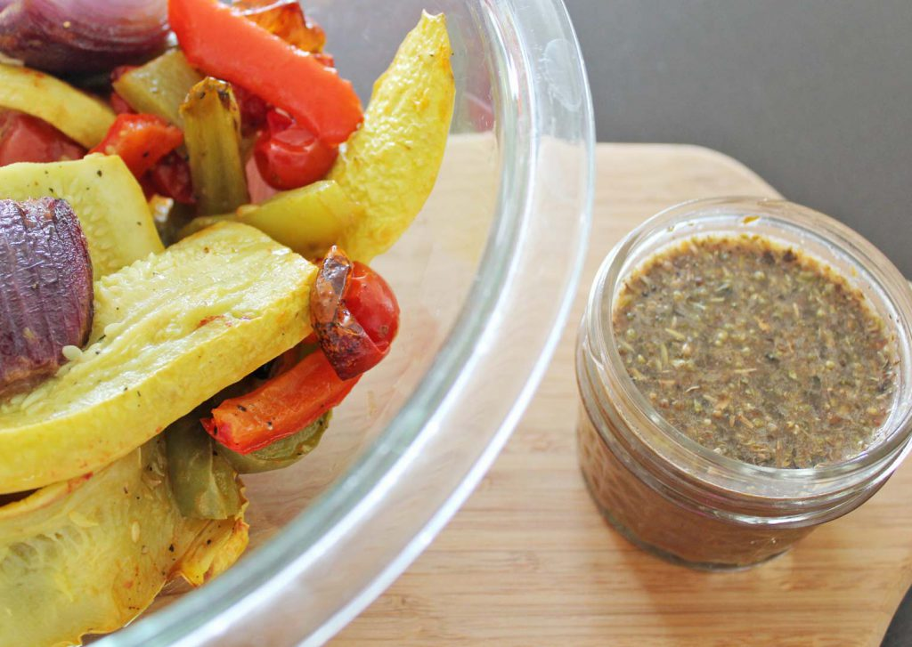 These roasted veggies want a bath in balsamic.