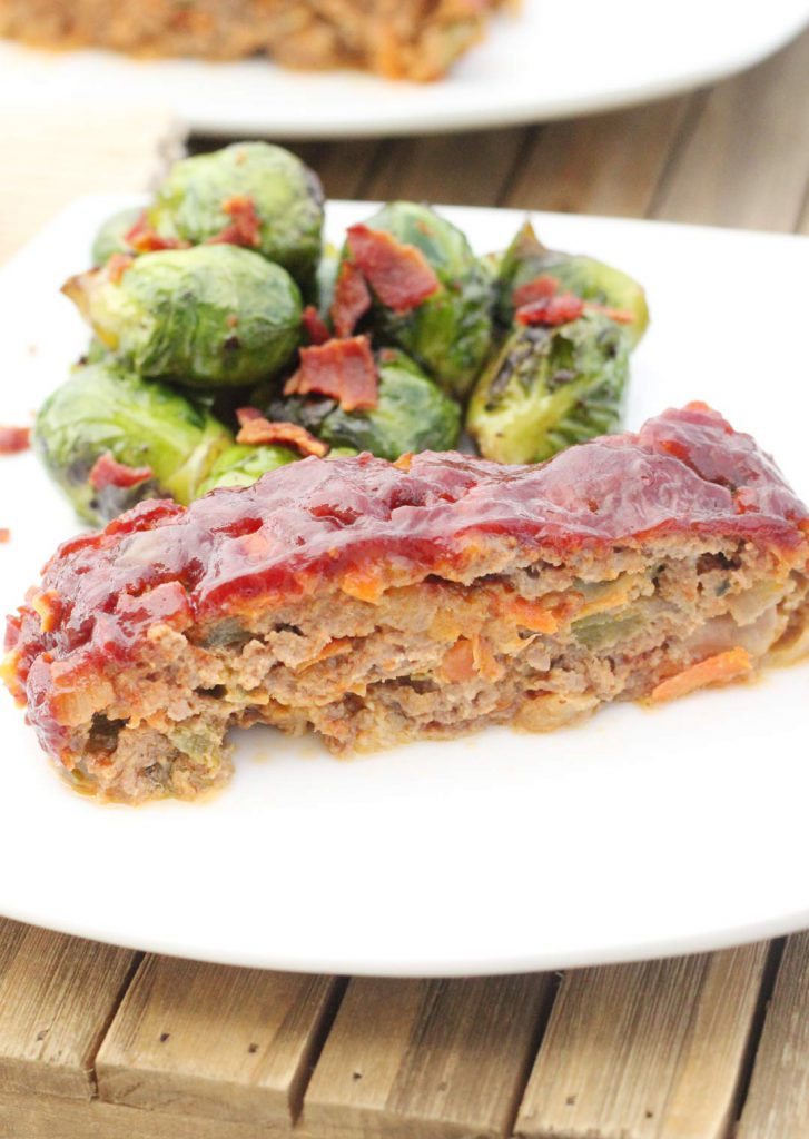 I laughed when I realized this is some people's nightmare. Meatloaf and brussel sprouts. I call it a winner of a dinner.